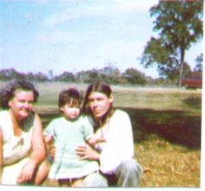 Visiting my mother at a mental institution, with my grandmother. This was taken outside on the institution's grounds.
