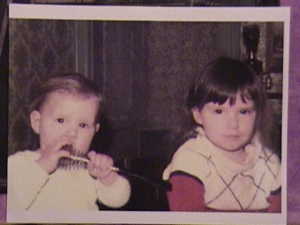 My sister and I as toddlers. One of us is hungry ;-)